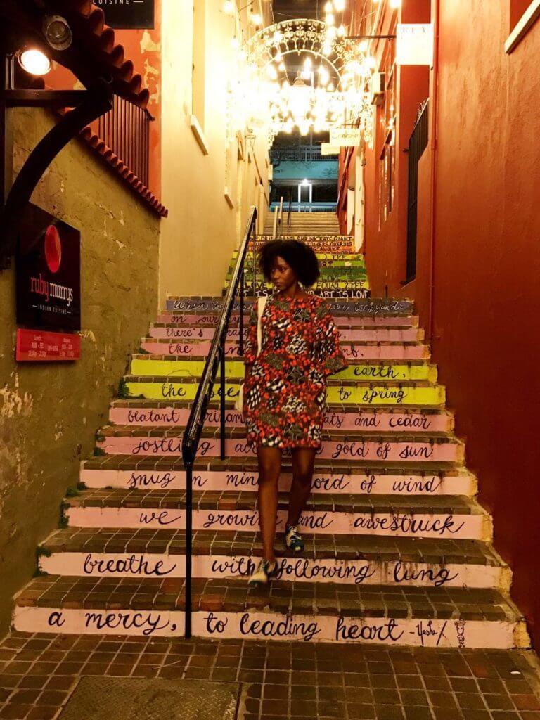 Bermuda, staircase, stairs, orange, dress, fashion