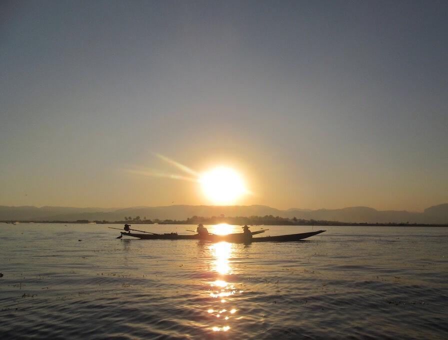 Inle Lake Myanmar Boats Sunset